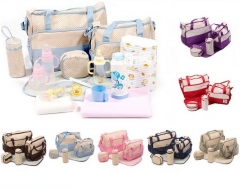 *IBaby* Microfiber Baby Diaper Nappy Changing Bags 5Pcs 7 Colors pink one size