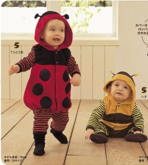 Cute Cartoon Bee Ladybug 0-24 Months Long Sleeved Baby Costume Outfit Romper Jumpsuit yellow 0-6 months