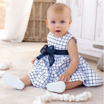 Blue And White checked 6-24 Months Baby Sleeveless Romper Jumpsuit Dress Skirt white 18-24 months