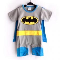 Batman Baby Toddler Grow Short Sleeved Bodysuit Onesie Jumpsuit Romper All Size grey 0-6 months