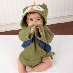 Owl Baby Boy Girl Dressing Gown Splash Wrap Bath Hooded Towel Robe 0-12M 2 Colors green one size