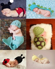 Baby Costume Photo Photography Prop Knit Crochet Beanie Animal Hat Cap Set green Turtles one size