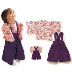 Japanese Baby Girl Purple Kimono Romper with Top 2 Sets pink 6-12 months