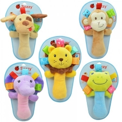 1pc Cute Cartoons Soft Animal Baby Toy Rattle dog one size
