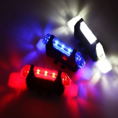 Portable USB Rechargeable Bike Bicycle Tail Rear Back Safety Light Lamps white universal