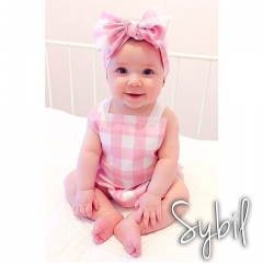 Cute Checked Baby Girl Sleeveless Suspenders Romper with headband 2 Sets 6-24 Months pink 6-12 months
