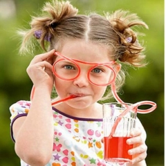 2pcs Party Funky Drinking Flexible Novelty Soft Straw Glasses Tube color random one size