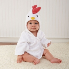 White Chick 0-12 Months Baby Bath Hooded Towel Robe
