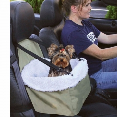 Booster Car Seat Auto Pet Dog Cat Carrier Puppy Safety Basket Sheepskin Travel white one size