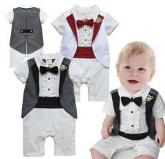 Crown Gentleman Vest Baby Short Sleeved Romper Jumpsuit One Piece 6-24 Months black 0-6 months