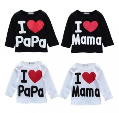 I Love Papa Mama Newborn Baby Boy Girl Long Sleeved T Shirts Tops Clothes 1pc black 6-12 months