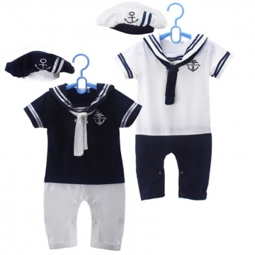 Cute Navy Baby Short Sleeved Jumpsuit with Hat 6-24 Months blue 6-12 months