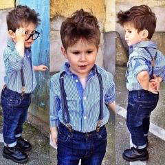 Fashion Kids Boy Blue Stripes Shirt Jeans with Suspenders 3 Sets