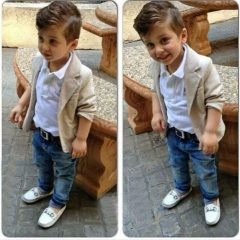 Fashion Kids Boy Long Sleeved Beige Jacket Suit White Lapel Shirt Jeans 3 Sets white 80cm