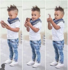 Fashion Kids Boy White Shirt Jeans with Scarf 3 Sets blue 80cm