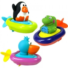 1pc Animal Random Baby Pull Back and Go Wind Up Boat Bath Float Water Toy