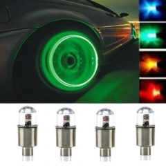 4x Car Motorcycle Bike Wheel Tire Tyre Valve Cap Neon LED Flash Rim Light Lamp green