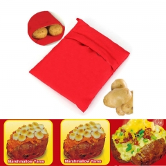 Reusable Potato Express Cooker Bag Polyester Fabric For Microwave Bake Cooking red one size