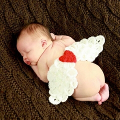 Cute White Angel Wings Baby Photography 0-3 Months Prop Knit Crochet Costume Set white 0-3months