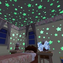 100pcs Stars Glow In The Dark Fluorescent 3D Kids Wall Stickers Home Decor Decal yellow one size