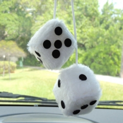 Details about  Plush White or Black Fuzzy Dice Rear View Mirror Hanger
