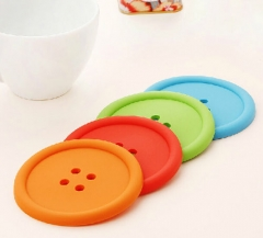 6pcs Silicone Coffee Placemat Button Coaster Cup Glass Beverage Holder Pad Mat color random one size