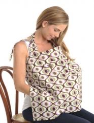 Cotton Nursing Baby Breastfeeding Breast Feeding Cover Cloth Poncho Shawl Hider blue one size