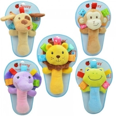 Details about  Dog Monkeyt Lion Frog Elephant Baby Pram Crib Toy Activity Soft Toy Rattles dog one size
