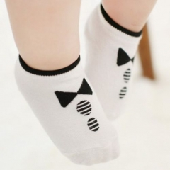 Cute Gentleman Tie Baby Non Slip Foot Socks 0-24 Months white one sinze