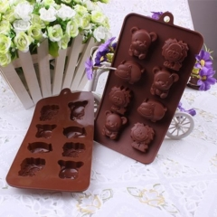1pc Silicone Animal Bear Lion Hippo Chocolate Candy Soap Ice Cube Tray Mold brown one size