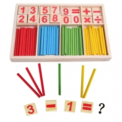 Baby Educational Puzzle Wooden Number Sticks Cards and Counting Rods with Box colorful one size