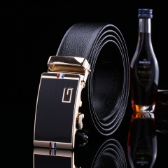 2017 New Leather Belt Fashion Men and Women's Trousers Casual Belt Simple Automatic Buckle Belt H803 black free