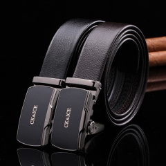 2017 New Leather Belt Fashion Men and Women's Trousers Casual Belt Simple Automatic Buckle Belt H721 black free