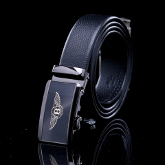 2017 New Leather Belt Fashion Men and Women's Trousers Casual Belt Simple Automatic Buckle Belt H734 black free