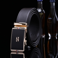 2017 New Leather Belt Fashion Men and Women's Trousers Casual Belt Simple Automatic Buckle Belt H829 black free