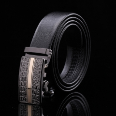 2017 New Leather Belt Fashion Men and Women's Trousers Casual Belt Simple Automatic Buckle Belt H726 black free