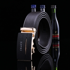 2017 New Leather Belt Fashion Men and Women's Trousers Casual Belt Simple Automatic Buckle Belt H799 black free