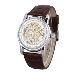 Men Retro Automatic Mechanical Watch Brown+silver