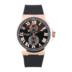 Sub-Dials Casual Quartz Men Army Wristwatch Black+gold