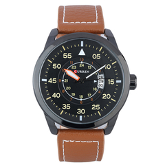 Analog Calendar Men Waterproof  Leather Watch Brown+black