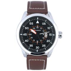 Analog Calendar Men Waterproof  Leather Watch Brown+silver