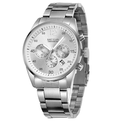 Stainless Steel Men Chronograph MultiFunctional Watch Silver + white