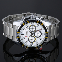 Men Fashion Full Steel Watch White