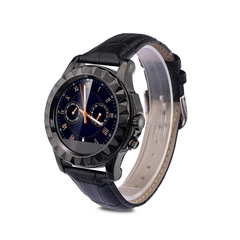 Smart Watch for Android IOS Black  Leather