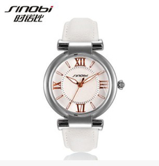 Women Black Leather Strap Popular Watch White+silver