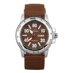 Men Round Dial Waterproof Watch Brown
