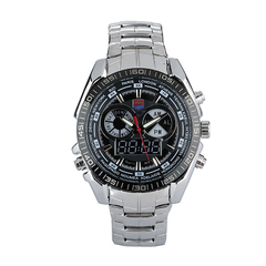 Sports Analog-Digital Stainless Steel Wrist Watch Black