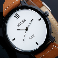 Men Frosted Strap Band Casual Watch Brown+white