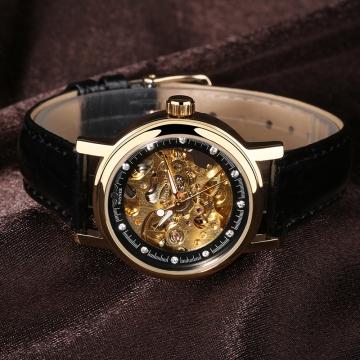 Women Automatic Mechanical Leather Band Wristwatch 4