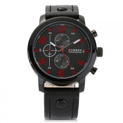 Men Leisure Leather Strap Quartz Wristwatch 1